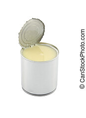 Side of opened sweet milk tin can on white background.
