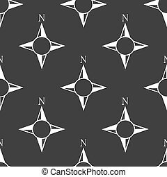 side of the World, compass web icon. flat design. Seamless gray pattern.