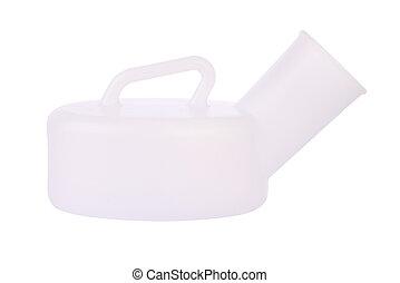Side of urinal bottle on white background.