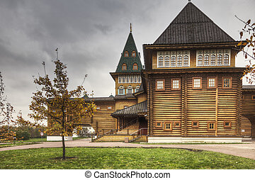 Side of wooden palace