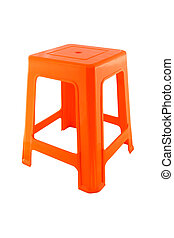 Side orange plastic rectangle chair on white background.