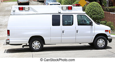 Side part of a blank ambulance.