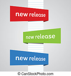 Perspective new release banners with directions and colors.