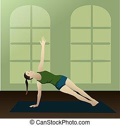 Side Plank - Vasisthasana practice yoga in room