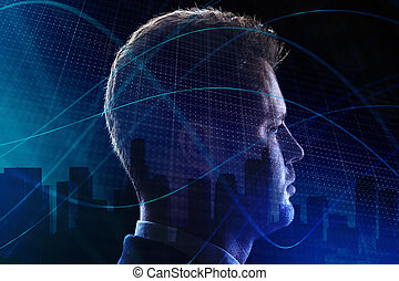 Future and ai concept - Side portrait of young european...