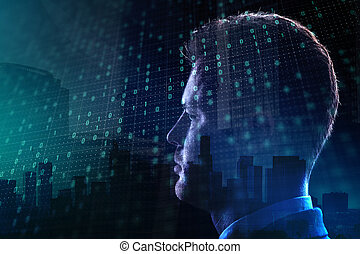 Technology and ai concept - Side portrait of young european...