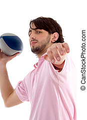 side pose of man with rugby ball