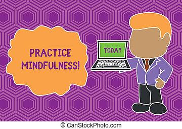 side., posición, derecho, forma, mindfulness., texto, computador portatil, práctica, hombre de negocios, señal, estado, relajación, tenencia, foto, conceptual, profesional, meditación, mano abierta, actuación, lograr