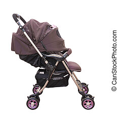 Side pram with cover on white background.