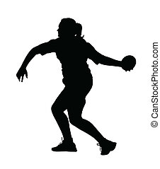 Side Profile of Girl Discus Thrower Turning to Throw Silhouette