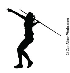 Side Profile of Girl Javelin Thrower Running up to Throw...
