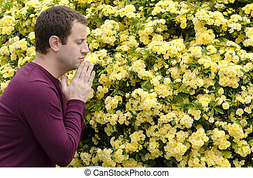 Side profile of man praying by yellow flowers.