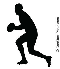Side Profile of Rugby Forward Running With Ball Silhouette