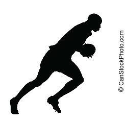 Side Profile of Rugby Speedster Running With Ball Silhouette