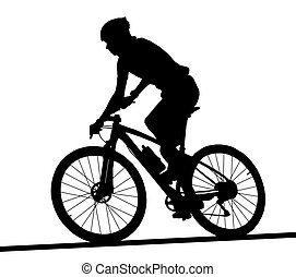 Side profile silhouette of male mountain bike racer riding...
