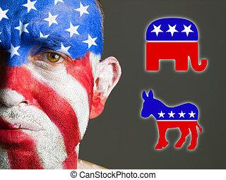side., republicano, el suyo, usa., cara, pintado, hojas, bandera, triste, símbolos, solamente, mitad, uno, fotográfico, composición, demócrata, hombre