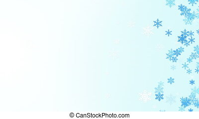 side snowflakes abstract winter background loop