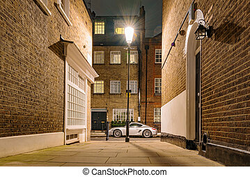 Side street in London at night