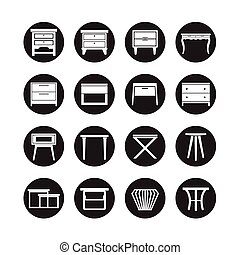 side table vector, furniture icon set