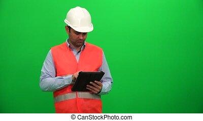 side., tablette, screen., architecture, numérique, confection, ingénieur, présentation, ou, gauche