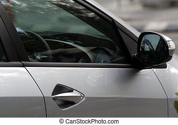 side udsigt, i, en, automobilen