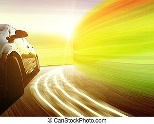 side udsigt, i, en, vogn luksus, drive hurtige