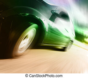 side udsigt, i, sort, automobilen, ind, sving