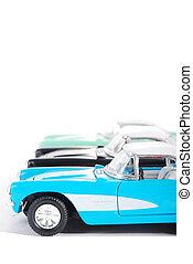 side udsigt, i, tre, retro legetøj, bilerne, på hvide, baggrund