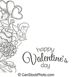 Side vertical border with sketch Valentines Day icons