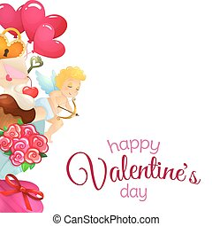 Side vertical border with Valentines Day icons