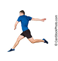 athlete jumping over imaginary obstacle isolated over white ...
