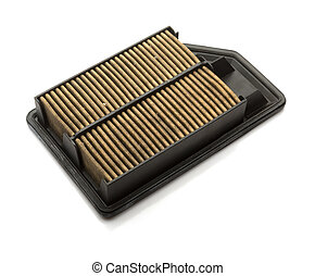 side view air filter for a car on white