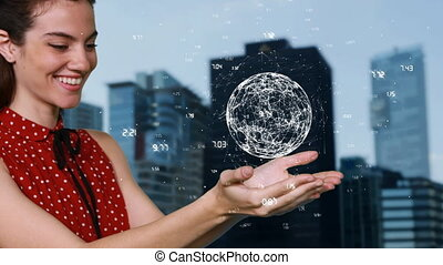 Side view animation of a Young woman holding an earth animation between her hands against a big city in the background