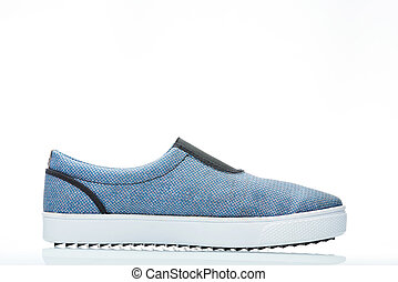 side view blue men shoe