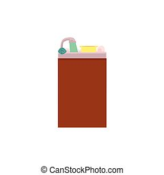 Side view cartoon picture of kitchen sink