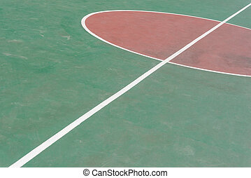 side view central circle of a basketball court