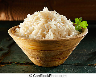 Small Wooden Bowl of White Rice with Chopsticks
