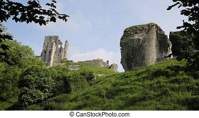 Side view Corfe Castle Dorset - Corfe Castle Isle of Purbeck...