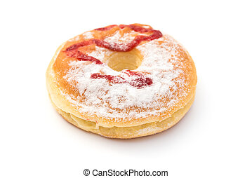 side view donut on a white background