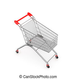 side view empty supermarket shopping cart isolated on white...