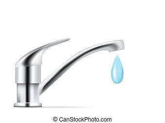 side view faucet with dripping water