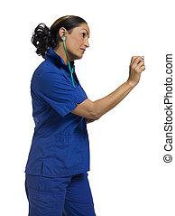 female nurse holding stethoscope