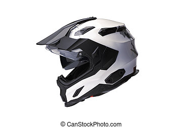 Side view isolated Full face Motorcycle white helmet.