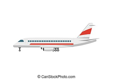 Side view jet airplane isolated vector icon