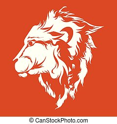 Side view lion face - Vector Illustration