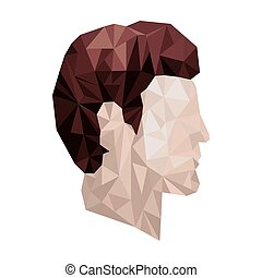 side view male abstract polygon portraits