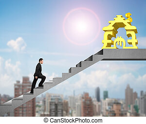 Side view man walking on stairs to money stacking house