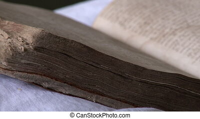 Side view of a ancient books pages