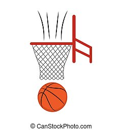 Side view of a basketball ball on a net