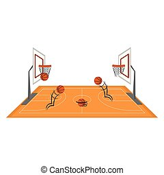 Side view of a basketball court